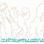 Golasy w drewnianych belkach, ilustracja z cyklu Zabawne życie
