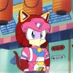 Samurai Pizza Cats, Polly Eshter (folia + ręcznie malowane tło)