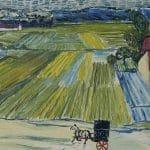 Pejzaż z dorożką i pociągiem, z: Loving Vincent, szkic malarski (Vincent van Gogh)